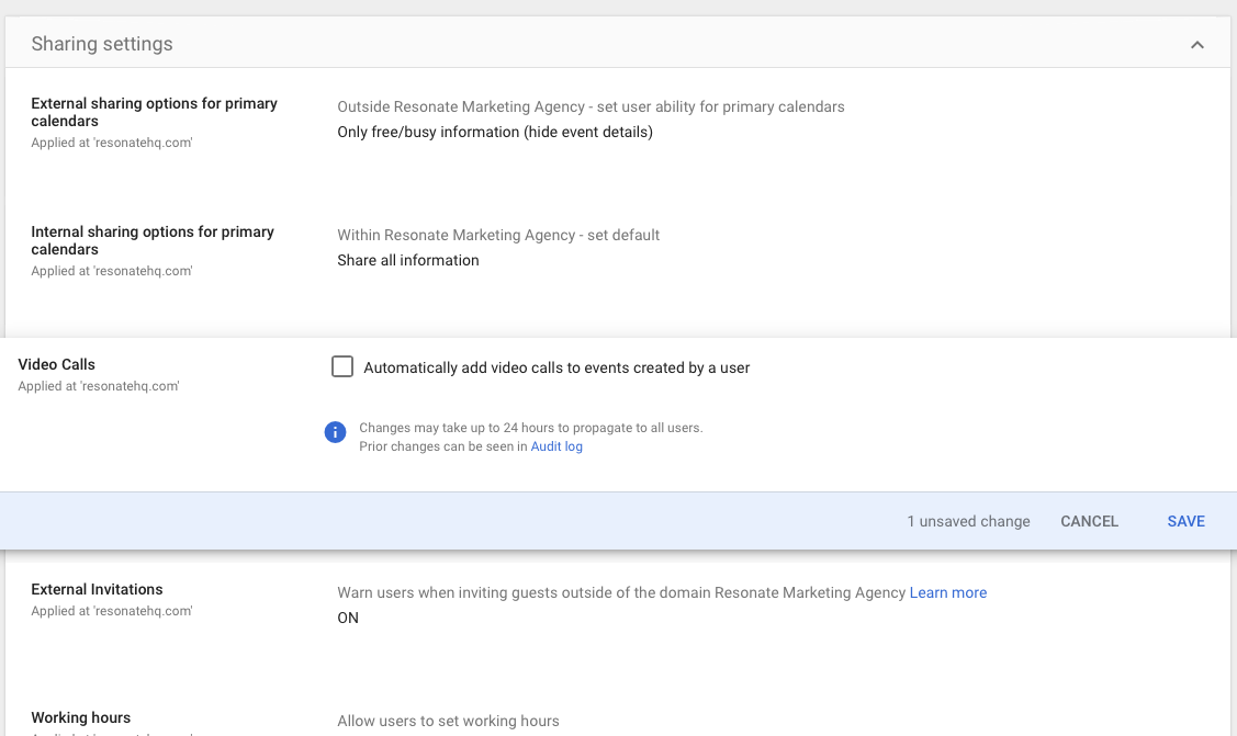 Turn Off Google Hangouts link in Hubspot Meetings